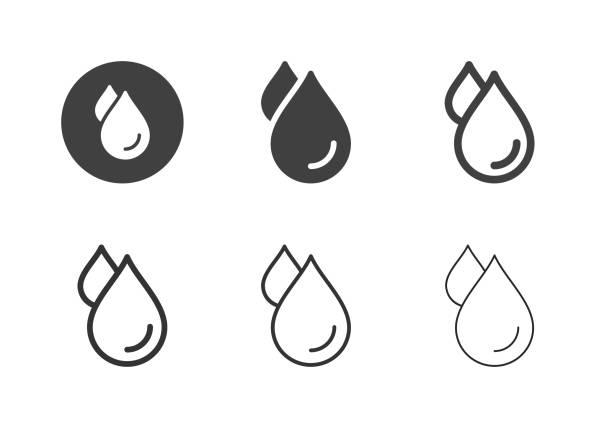 물 방울 아이콘 - 멀티 시리즈 - 물 stock illustrations