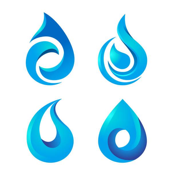 Water drop icons set. vector art illustration
