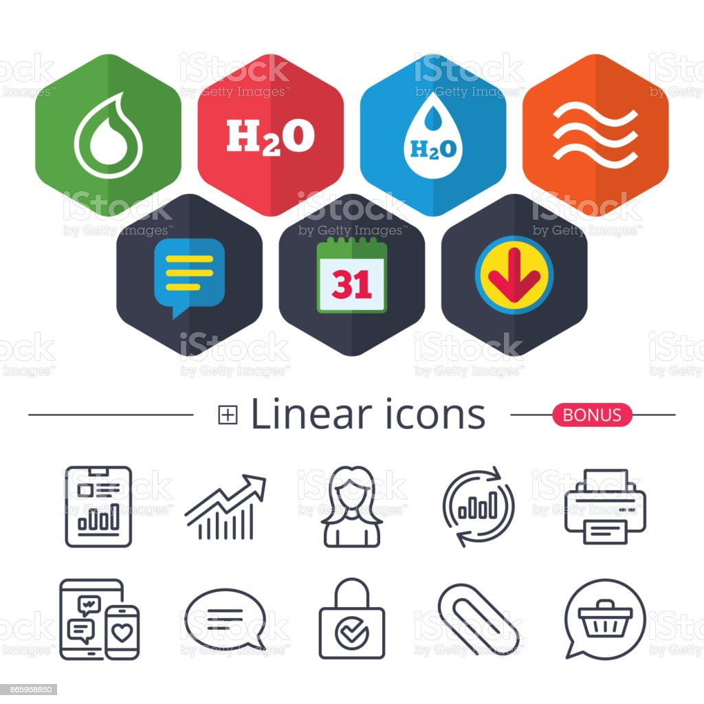 H2o Water Drop Icons Tear Or Oil Symbols Stock Vector Art More