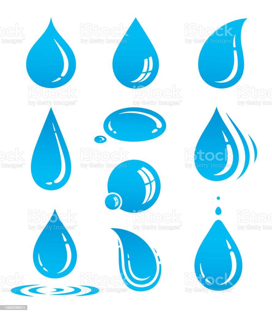 vatten droppe ikoner - Royaltyfri Blå vektorgrafik