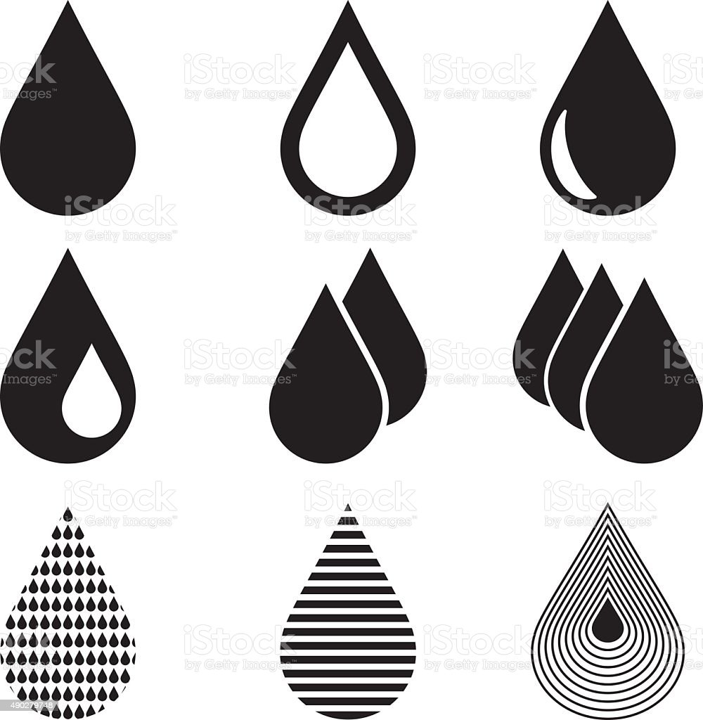 Water Drop Icons vector art illustration