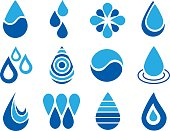 Vector illustration of a set of twelve water drop icons.