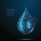 Polygonal Water drop. Vector mesh spheres from flying debris. Thin line concept. Blue structure style illustration