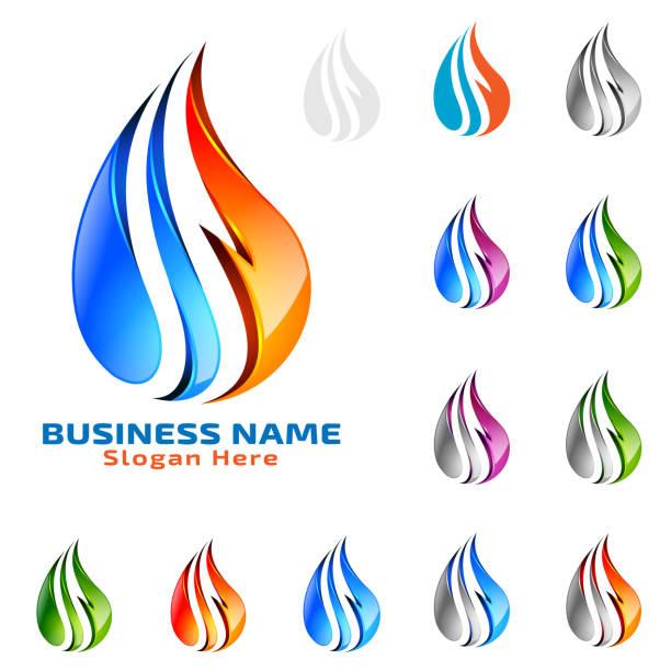 illustrazioni stock, clip art, cartoni animati e icone di tendenza di water drop, oil, gas, 3d blue water drop vector design - ice on fire