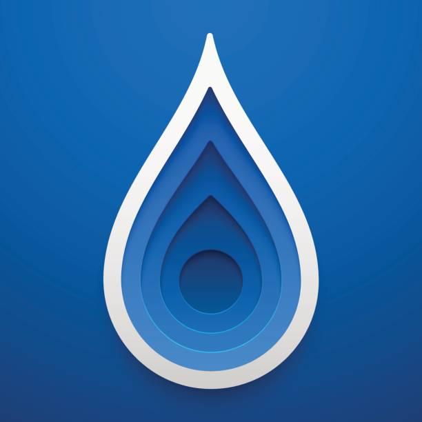 water drop shape. paper art  of ecology idea. vector illustration. concept design. - teardrop stock illustrations, clip art, cartoons, & icons