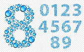 Vector Illustration with Water Drop Style Numbers Set from 0 to 9