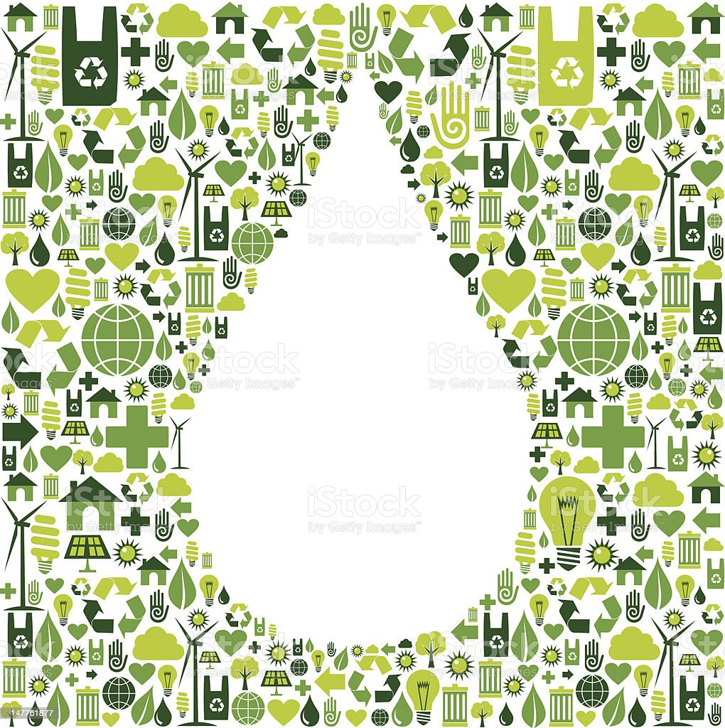 Water drop symbol with eco friendly icon royalty-free stock vector art