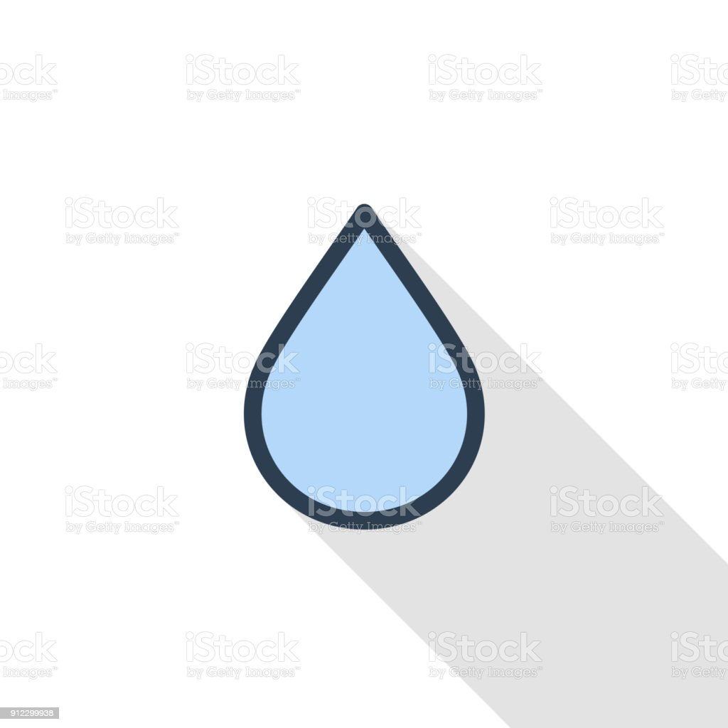 Water drop thin line flat color icon linear vector symbol colorful water drop thin line flat color icon linear vector symbol colorful long shadow design biocorpaavc