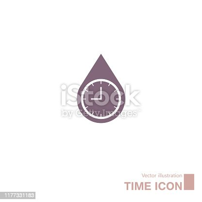 Water drop time icon.