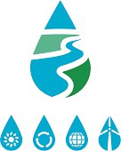 Water conservation icon set promoting the use of clean, renewable energy sources to preserve clean water.