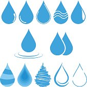 Water drop vector illustration. Clean water drop isolated on white. Falling water drop. Set of vector water drop.