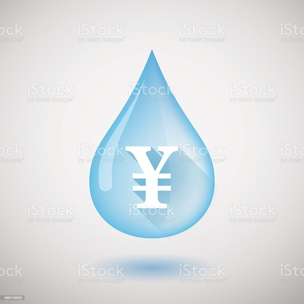 Water drop with a yen sign vector art illustration