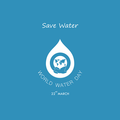 Water drop with human hand vector design template.World Water Day icon.World Water Day idea campaign for greeting card and poster.Vector illustration