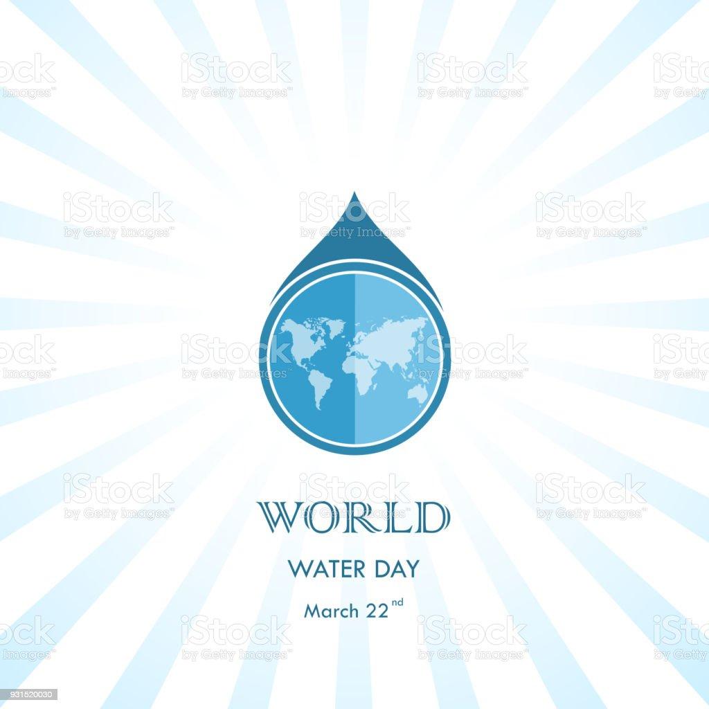 Gota De Agua Con Plantilla De Diseño De Vector De Icono Mundial ...