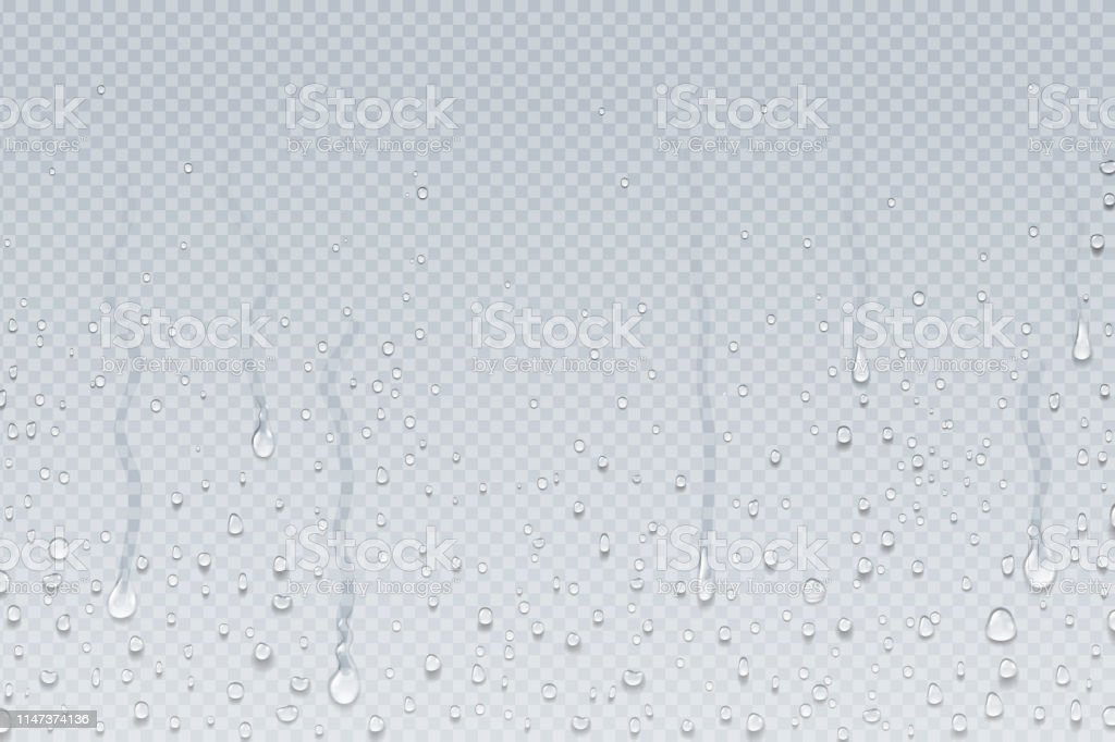 Water drops background. Shower steam condensation drips on transparent glass, rain drops on window. Vector realistic water drops - Royalty-free Abaixo arte vetorial