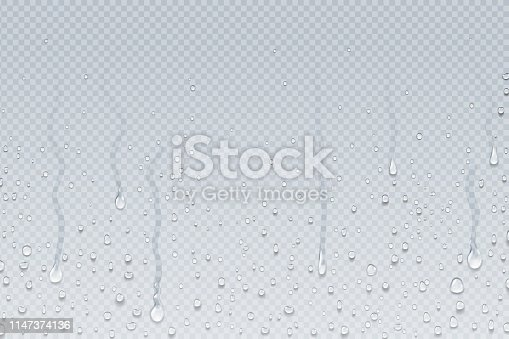 istock Water drops background. Shower steam condensation drips on transparent glass, rain drops on window. Vector realistic water drops 1147374136