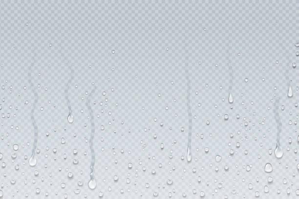 물이 배경 방울. 투명 유리에 샤워 증기 응축 물방울, 비가 창에 떨어진다. 벡터 현실적인 물방울 - 물 stock illustrations