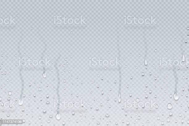 Water Drops Background Shower Steam Condensation Drips On Transparent Glass Rain Drops On Window Vector Realistic Water Drops - Arte vetorial de stock e mais imagens de Abaixo