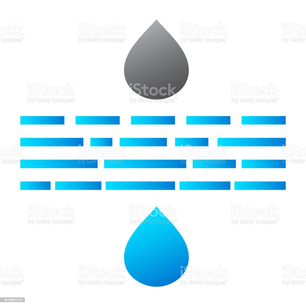 Water Drops Filtration Icon In Flat Style Isolated On White