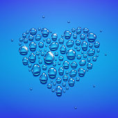 Water drops in heart shape on blue background, vector illustration