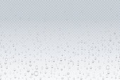 Water drops on glass. Rain droplets on transparent window, steam condensation pattern, shower glass. Vector water drops background