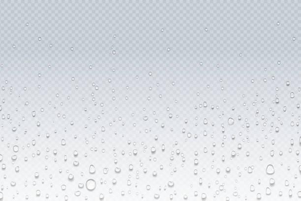물이 유리에 떨어진다. 투명 창, 증기 응축 패턴, 샤워 유리에 비 방울. 벡터 물 방울 배경 - water stock illustrations