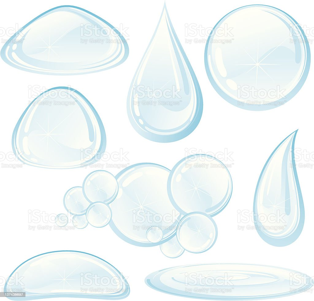 Water drops set royalty-free stock vector art