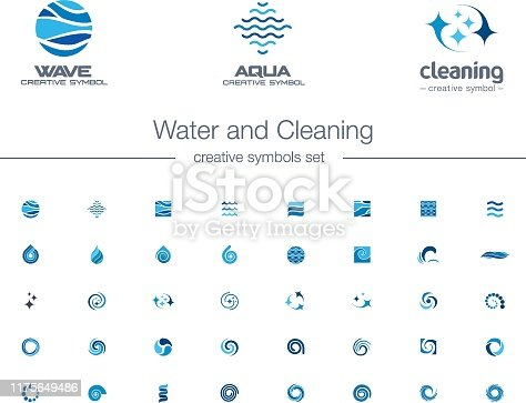 Water drops, waves and Cleaning creative symbols set. Pure aqua, bio drink abstract business concepts. Easy wash, refresh, sea, ocean icons