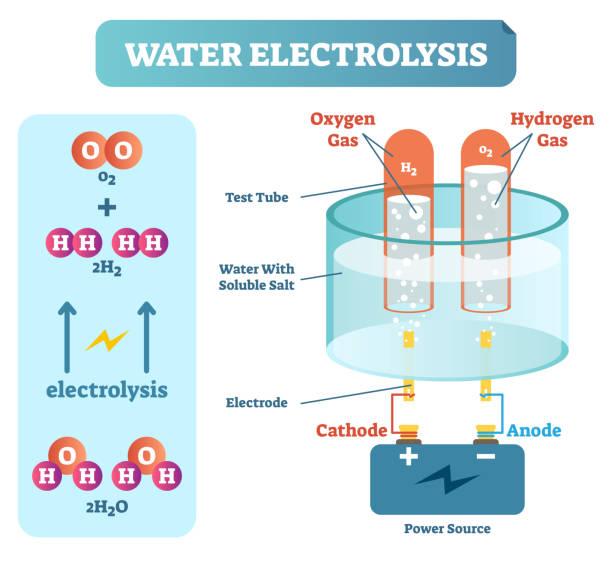illustrazioni stock, clip art, cartoni animati e icone di tendenza di water electrolysis process, scientific chemistry diagram, vector illustration educational poster - elettrodo