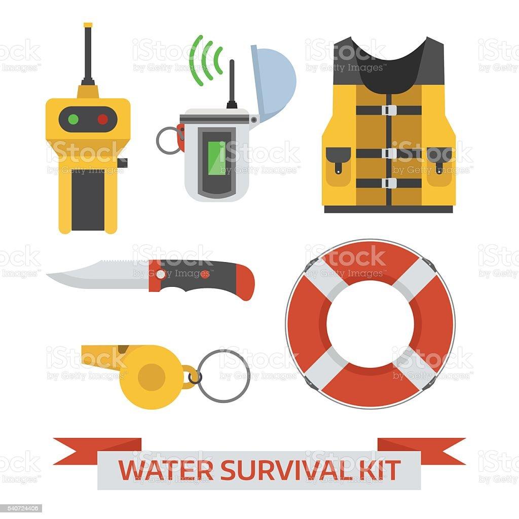 Water Emergency Surival Kit vector art illustration