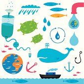 Watery elements including a filter system, sea creatures, boat and weather elements.