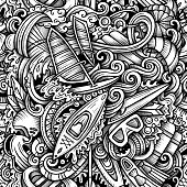 Water extreme sports vector hand drawn doodles seamless pattern. Active lifestyle graphics background design. Endless cartoon trace illustration.