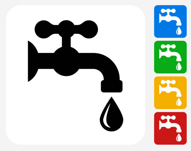 water faucet icon flat graphic design - tap water stock illustrations
