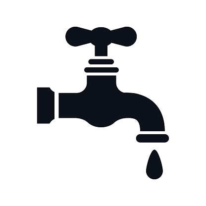 Water faucet or water tap with water droplet flat graphic icon vector illustration