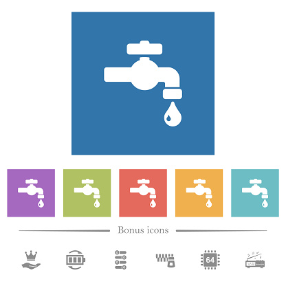 Water faucet with water drop flat white icons in square backgrounds