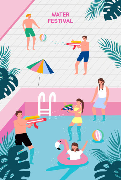Water festival Poster template for outdoor festival. Flat cartoon colorful vector illustration. pool party stock illustrations