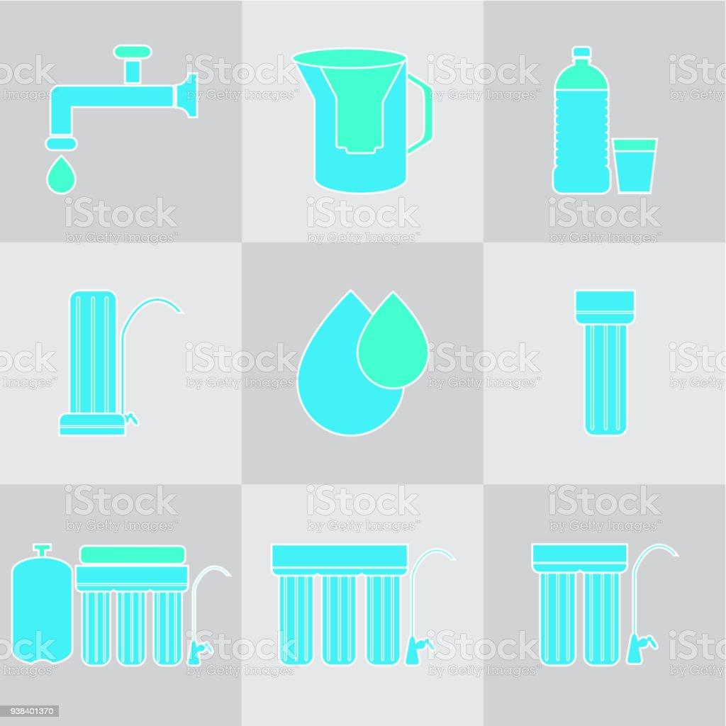 Wasserfiltericonset Getränk Und Home Wasserfilter Reinigung ...