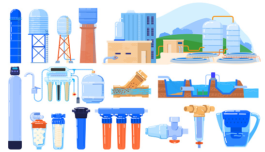 Water filter industry set isolated on white, purification system engineering, vector illustration. Drinkable water cleaning process, purifying and recycling facility. Modern industrial filters icons
