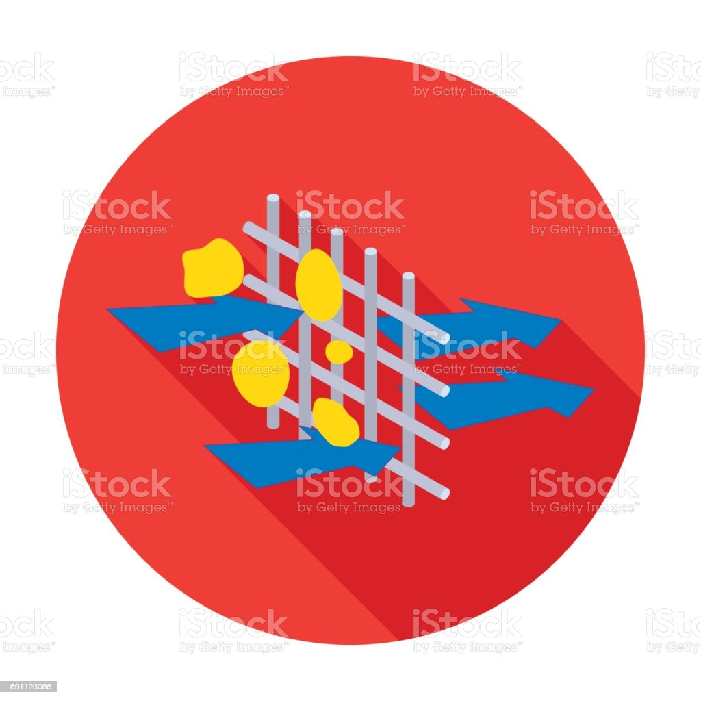 Water Filtration Through Carbonic Filter Icon In Flat Style Isolated System Diagram On White Background