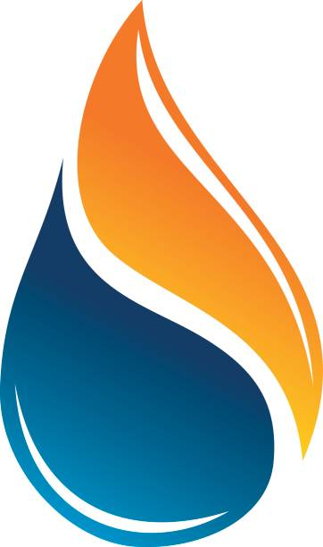 Water Fire Flame Gas Oil vector art illustration