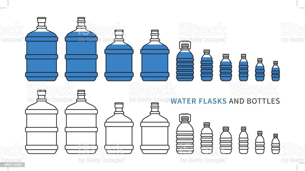 Water flasks and bottles vector illustration vector art illustration