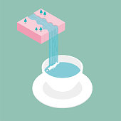 Water flows down from mid-air, forming a waterfall, into the coffee cup below. Surreal concept design.