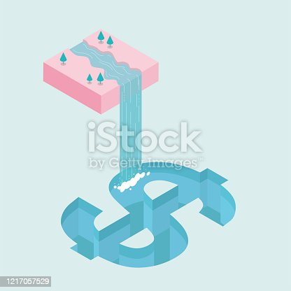 istock Water flows down from mid-air, forming a waterfall, into the   swimming pool,swimming pool is dollar symbol shape. 1217057529