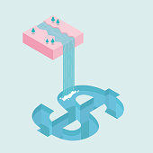 Water flows down from mid-air, forming a waterfall, into the   swimming pool,swimming pool is dollar symbol shape. Surreal concept design.