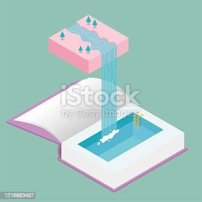 istock Water flows down from mid-air, forming a waterfall,flow into the swimming pool in the book. 1216683457