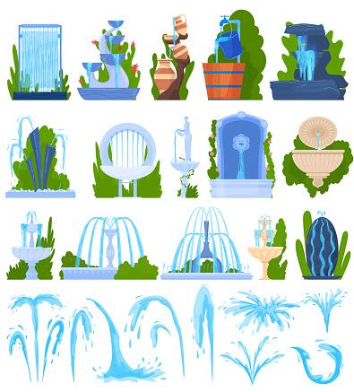 Water fountain architecture decor vector illustration set, cartoon flat architectural element, exterior park decoration collection