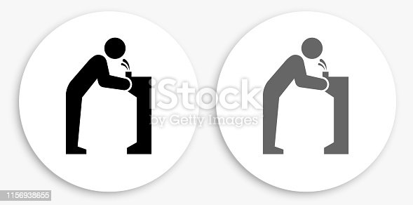 Water Fountain Black and White Round Icon. This 100% royalty free vector illustration is featuring a round button with a drop shadow and the main icon is depicted in black and in grey for a roll-over effect.