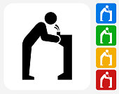 Water Fountain Icon Flat Graphic Design. This 100% royalty free vector illustration features the main icon pictured in black inside a white square. The alternative color options in blue, green, yellow and red are on the right of the icon and are arranged in a vertical column.