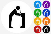 Water Fountain Icon on Flat Color Circle Buttons. This 100% royalty free vector illustration features the main icon pictured in black inside a white circle. The alternative color options in blue, green, yellow, red, purple, indigo, orange and black are on the right of the icon and are arranged in two vertical columns.