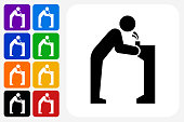 Water Fountain Icon Square Button Set. The icon is in black on a white square with rounded corners. The are eight alternative button options on the left in purple, blue, navy, green, orange, yellow, black and red colors. The icon is in white against these vibrant backgrounds. The illustration is flat and will work well both online and in print.